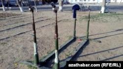 Turkmenistan -- School sports equipment in Tahtabazar. February 27, 2014