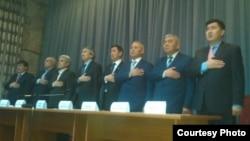 Kyrgyzstan - Bekbolot Talgarbekov and other leaders Eldik Parliament