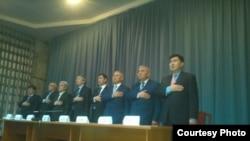 """""""Халықтық парламент"""" қозғалысының жетекшілері. Бішкек, сәуір 2016 жыл (Көрнекі сурет)."""