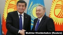 Қазақстан президенті Нұрсұлтан Назарбаев пен Қырғызстан президенті Сооронбай Жээнбеков.