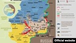 Украина шарқида 29 июль куни юзага келган вазият акс этган харита.