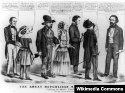 Карикатура 1856 года на Фримонта и его электорат