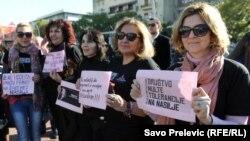 Sa jednog od skupova protiv nasilja nad ženama, Podgorica, februar 2015.