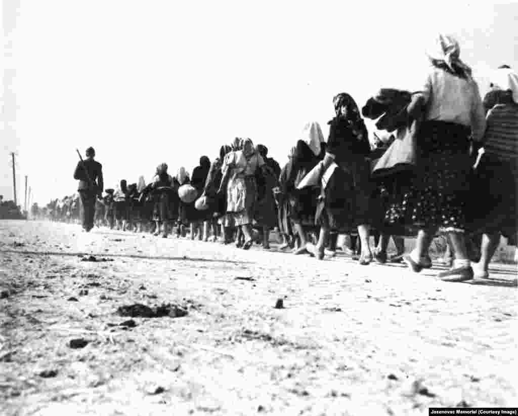 Mainly Bosnian Serb women and children escorted on their way to the Stara Gradisca concentration camp in 1941.
