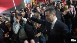 Партискиот лидер Никола Груевски на собир на владејачката ВМРО-ДПМНЕ во Спортскиот центар Борис Трајковски во Скопје