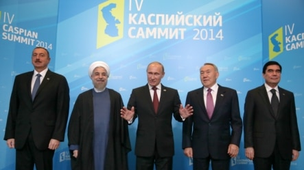 Russia -- Russian President Vladimir Putin (C) and his counterparts from Azerbaijan, Iran, Turkmenistan and Kazakhstan pose for a photo during the Caspian summit in Astrakhan, September 29, 2014