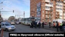 Перекресток улиц Напольная и Ушаковская в Иркутске, где трамвай задавил ребенка