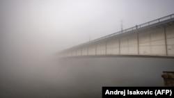 Brankov most u Beogradu magli, januar 2020.