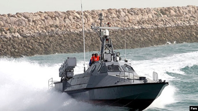 An Iranian Revolutionary Guards Corps boat during training exercises in the Persian Gulf in 2007