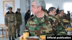 Armenia - President Serzh Sarkisian visits an Armenian military base, 8Dec2016.