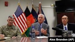 Rex Tillerson la o conferință de presă în Afganistan, 23 octombrie 2017.