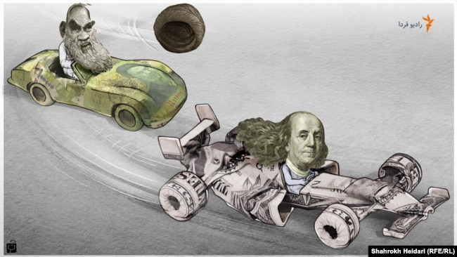 A Radio Farda cartoon by Shahrokh Heidari. Rial overtaken by the US dollar.