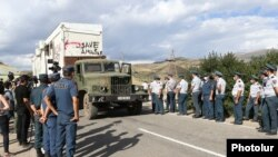 Armenia -- Police dismantles the cabins of the Lydian Armenia company. 07August, 2020