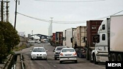 Trucks carrying commodities from Iran to neighboring Azerbaijan. March 2020.