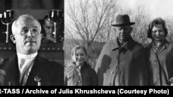 Nikita Khrushchev as Soviet leader (left) and in retirement with great-granddaughter Nina and granddaughter Julia.