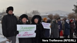 People in Bograd protesting the pending closure of their maternity ward on orders from Moscow.