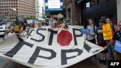 Демонстрация в американском городе Атланта против создания зоны свободной торговли в АТР. Иллюстративное фото.
