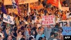 صحنهای از تظاهرات پیشین در اسرائیل در اعتراض به افزایش قیمتها. ۱۳ اوت ۲۰۱۱.