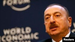 Switzerland -- Azerbaijan's President Ilham Aliyev, speaks during a session at the annual meeting of the World Economic Forum (WEF) in Davos, January 23, 2014