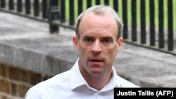 British Foreign Secretary Dominic Raab arrives at Downing Street in London on September 1.