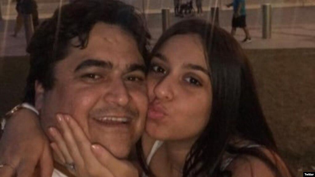 روح الله زم و دخترش (عکس از توییتر نیاز زم)
