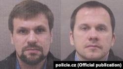 """""""Руслан Боширов"""" и """"Александр Петров"""" на фото, опубликованных чешской полицией. Эти же фотографии """"Боширова"""" и """"Петрова"""" были продемонстрированы британскими властями в 2018 году"""