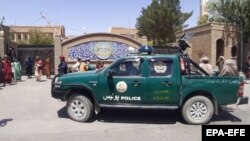Taliban militants drive a police vehicle as they gather around a provincial government office after taking control of Herat on August 13.
