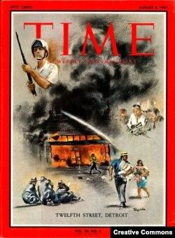 """Обложка журнала """"Тайм"""", посвященного детройтским беспорядкам. 4 августа 1967."""