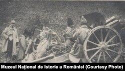 Piesă de artilerie românească în Moldova. Sursa: Expoziția Marele Război, 1914-1918