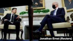 U.S. President Joe Biden meets with Ukrainian President Volodymyr Zelenskiy at the White House on September 1.