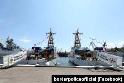 Корабли Береговой охраны Грузии, которые пришли на «Си Бриз», в порту Одессы. 29 июня 2021 года