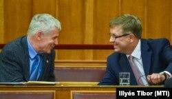 Polt Péter legfőbb ügyész és Matolcsy György, a Magyar Nemzeti Bank elnöke az Országgyűlésben 2016. május 17-én