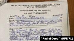 Заключение врачей после осмотра пострадавшего журналиста Радио Озоди