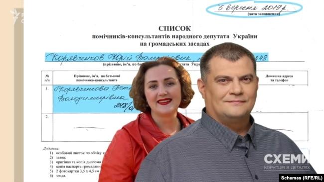 5 вересня 2019 року депутат Корявченков подав до апарату Верховної Ради свій список помічників на громадських засадах, де є і прізвище його дружини