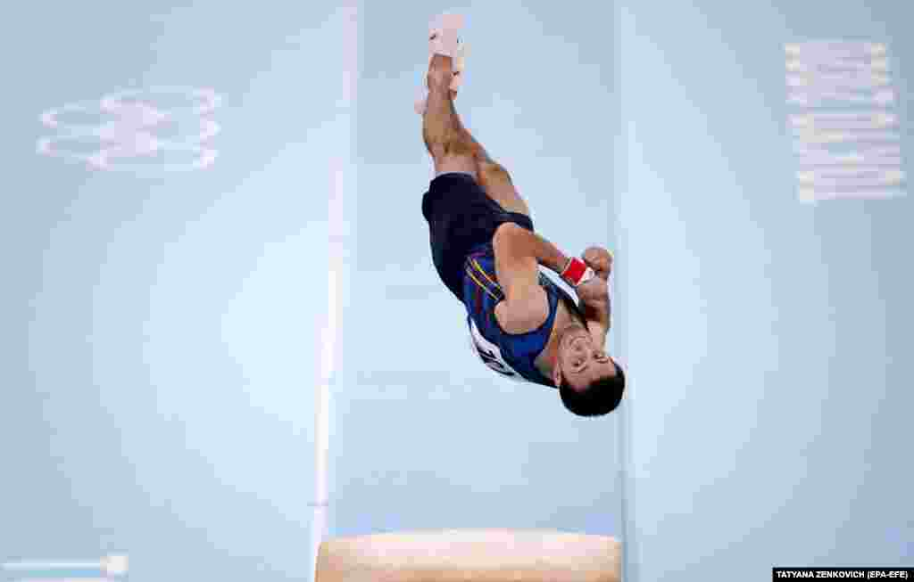 Bronze medalist Artur Davtyan of Armenia competes for the Men's Vault Final at Artistic Gymnastics events of the Tokyo 2020 Olympic Games at the Ariake Gymnastics Centre in Tokyo, Japan, 02 August 2021.