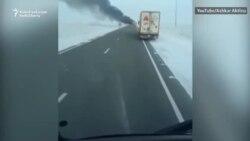 Qazaxıstanda avtobus yandı, 52 nəfər öldü
