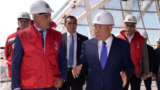 Kazakhstan - President Nazarbayev is observing a Nur Alem building being constructed by Fettah Tamince's company. Astana, August, 2016