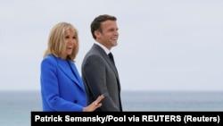 Presidenti francez Emmanuel Macron dhe gruaja e tij Brigitte Macron.