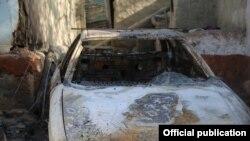 Разрушения после столкновений на таджикско-кыргызской границе, Сомониен, Исфаринский район, 2 мая 2021 года.