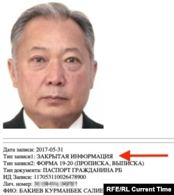 """Данные экс-президента Кыргызстана оказались в закрытом разделе АИС """"Паспорт"""""""