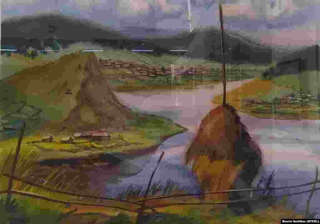 """О.В. Литвиненконун """"Жогорку Авзян"""" аттуу эмгеги кагаз, акварель, 2010"""
