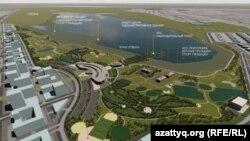 Эскиз парка возле озера Талдыколь, презентованный властями столицы. Нур-Султан, 27 августа 2020 года. Фото с официального сайта акимата