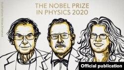 Laureații Premiului Nobel pentru fizică pe 2020: Roger Penrose, Reinhard Genzel și Andrea Ghez