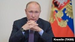 Ռուսաստանի նախագահ Վլադիմիր Պուտինը կառավարության անդամների հեռավար խորհրդակցության ժամանակ, Մոսկվա, 14-ը սեպտեմբերի, 2021թ.