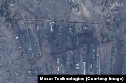 Tanks, trucks, and other military equipment at the Pogorovo training area near Voronezh, Russia