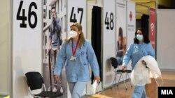 """Вакцинација против ковид-19 во Спортски центар """"Борис Трајковски"""" во Скопје - 5 април 2021"""