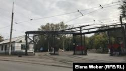 Въезд на территорию трамвайного депо в Темиртау.
