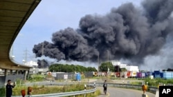 Взрыв на химическом заводе Currenta в Леверкузене. Скриншот кадра видео