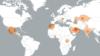 Քարտեզի վրա նշված են Pegasus լրտեսական ծրագիրն օգտագործող պետությունները