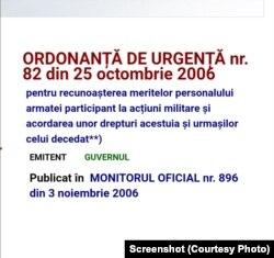 OUG 82/2006 asigură acordarea unor drepturi militarilor răniți în teatrele de război